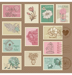 Retro flower postage stamps vector