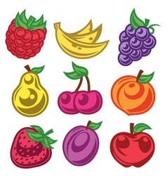 Colorized stylized fruit icons vector