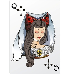 Queen of clubs deck romantic graphics cards vector