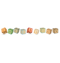Word education written with alphabet blocks vector