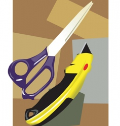 Scissors with paper cutter vector