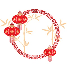 Chinese frame with lanterns vector