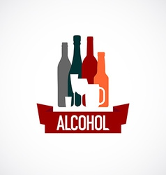 Alcohol sign different bottle and glass vector