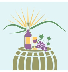 Wine bottlewineglass and grape on the background vector