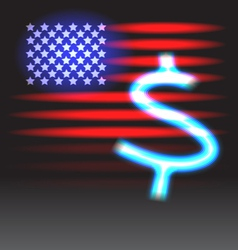 Stripes and stars and neon dollar sign vector