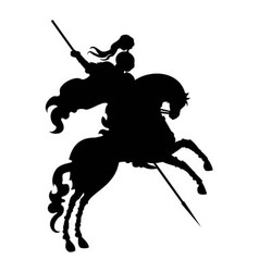 Silhouette of champion knight on a horse vector