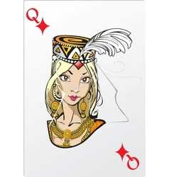 Queen of diamonds deck romantic graphics cards vector