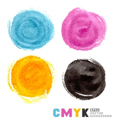 Cmyk watercolor paint circles vector