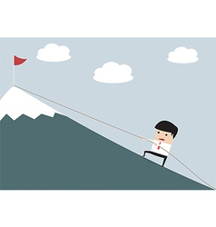 Businessman climbing hill vector