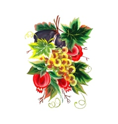 Garnet figs grapes painting on white background vector
