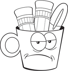 Cartoon angry pencil cup vector
