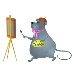 Cartoon rat artist vector