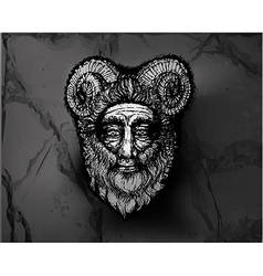 Horned deity black vector
