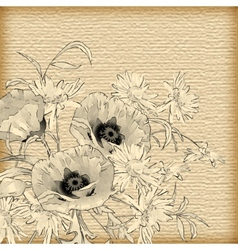 Vintage hand drawing flowers vector