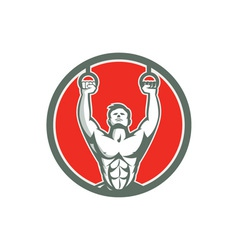 Kipping muscle up cross-fit circle retro vector