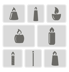 Monochrome icons with candles vector