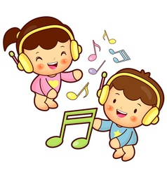 The boy and girl listening to music vector