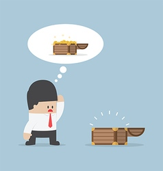Businessman and empty treasure box vector