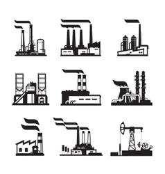 Industrial buildings nuclear plants and factories vector