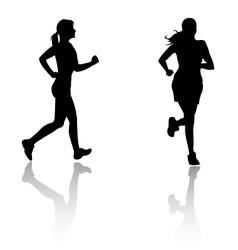 Silhouette run woman vector
