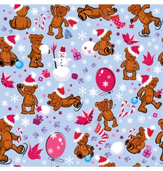 Seamless pattern with teddy bears snowflakes vector