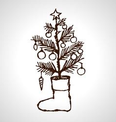 Christmas creative hand drawn fir tree vector