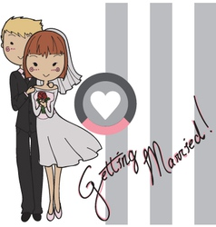 Wedding card bride and groom vector