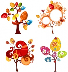 Easter tree set vector