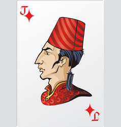 Jack of diamonds deck romantic graphics cards vector