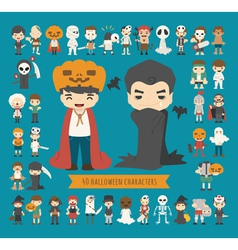 Set of 40 halloween costume characters vector