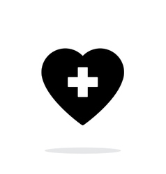 Heart with medical cross icon on white background vector