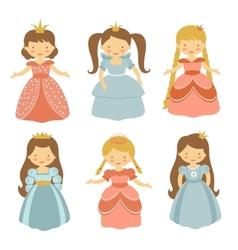 Beautiful princesses set vector