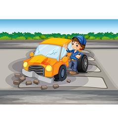 A car crash at the pedestrian lane vector