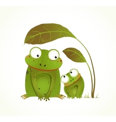Two frogs mother and baby childish animal cartoon vector