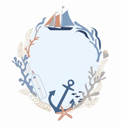 Sea voyage frame design vector