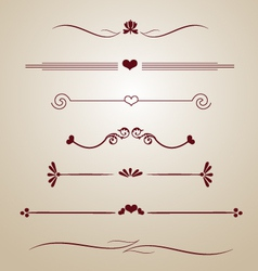 Vintage borders frames dividers heart floral card vector