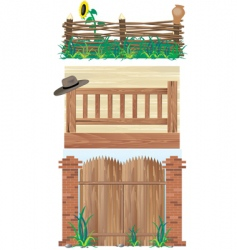 Fences brick wood and wicker vector