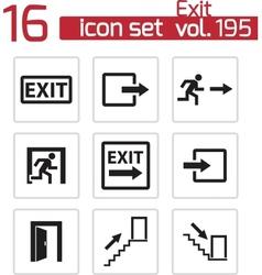 Black exit icons set vector