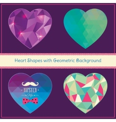 Heart shapes with geometric grunge background vector