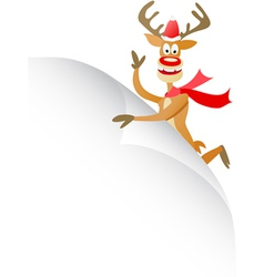 Christmas deer with blank page vector