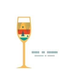 Vibrant ikat stripes wine glass silhouette pattern vector