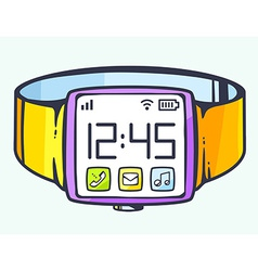 Smart watch with button on light backgrou vector