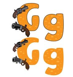 Letter g gun vector