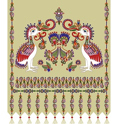 Flower and bird embroidered ethnic vector