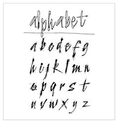 Hand drawn grunge alphabet with ink splits effect vector