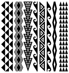 Hawaiian kakau tattoo set vector
