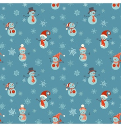 Seamless christmas pattern with snowmen and vector