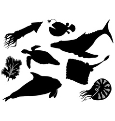 Set of silhouettes of sea animals vector
