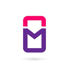 Mobile phone app letter m logo icon design vector