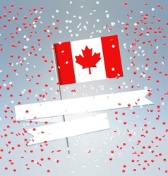 Canadian flag and white ribbon vector